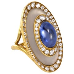1970s Bulgari, Sapphire, Diamond, Rock Crystal and Gold Ring
