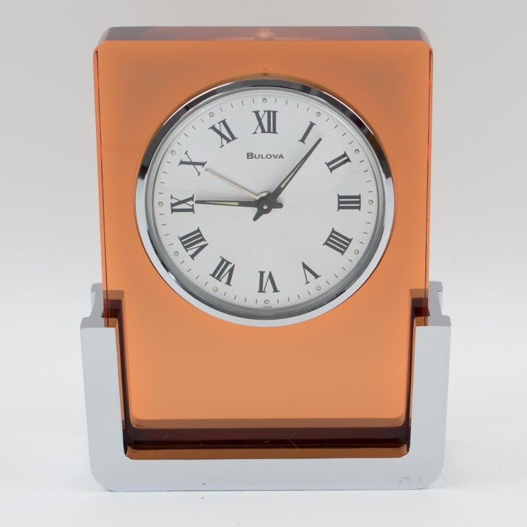 1970s Bulova Japan 2RA007 Wind Up Alarm Table Clock Copper Lucite and Chrome For Sale 5