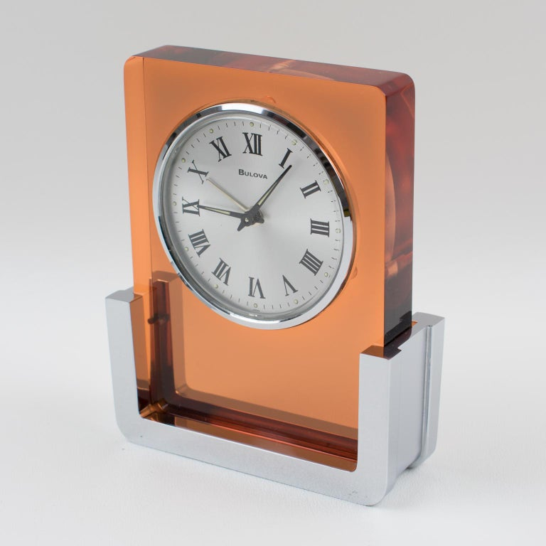 Modern 1970s Bulova Japan 2RA007 Wind Up Alarm Table Clock Copper Lucite and Chrome For Sale