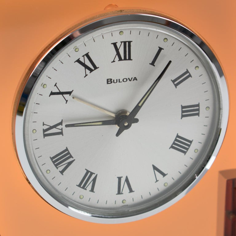 1970s Bulova Japan 2RA007 Wind Up Alarm Table Clock Copper Lucite and Chrome For Sale 1
