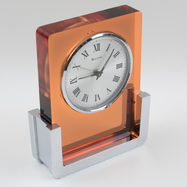1970s Bulova Japan 2RA007 Wind Up Alarm Table Clock Copper Lucite and Chrome For Sale 3
