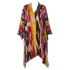 1970S Burgundy & Gold Silk Ikat Long Sleeve Unisex Kaftan With Pleated And Embr