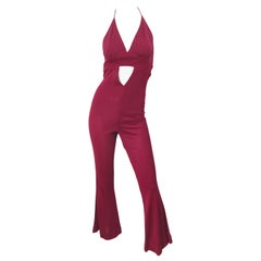 1970s Burgundy Polka Dot Cut-Out Flared Leg Vintage 70s Halter Jumpsuit