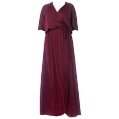 1970S Burgundy Polyester Jersey Maxi Wrap Dress With Sheer Lace Back