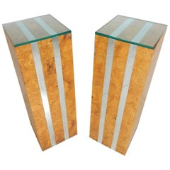 1970s Burl Wood and Chrome Banded Pedestals in Style of Paul Evans