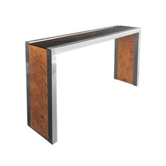 1970s Burl Wood and Nickel Narrow Console with Bronze Glass Top by Willy Rizzo