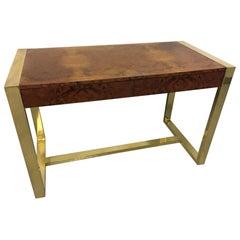 1970s Burl Wood & Brass Desk