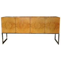1970s Burlwood Sideboard Credenza by Milo Baughman for Thayer-Coggin Furniture