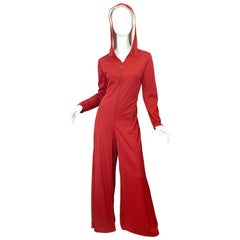 1970s Burnt Orange Hooded Jersey One Piece Wide Flare Leg Vintage 70s Jumpsuit