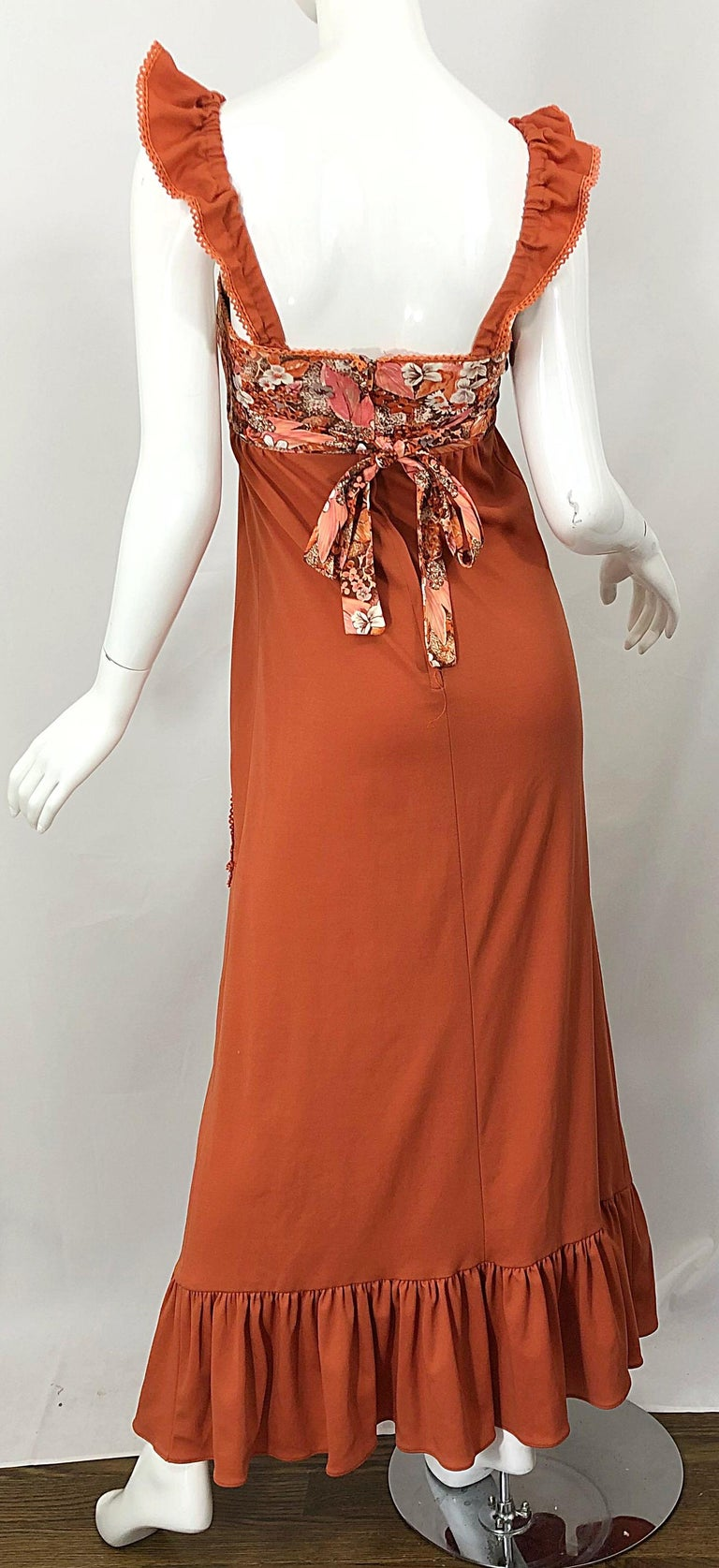 1970s Burnt Orange Patchwork Flowers Boho Vintage 70s Jersey Autumnal Maxi Dress For Sale 6