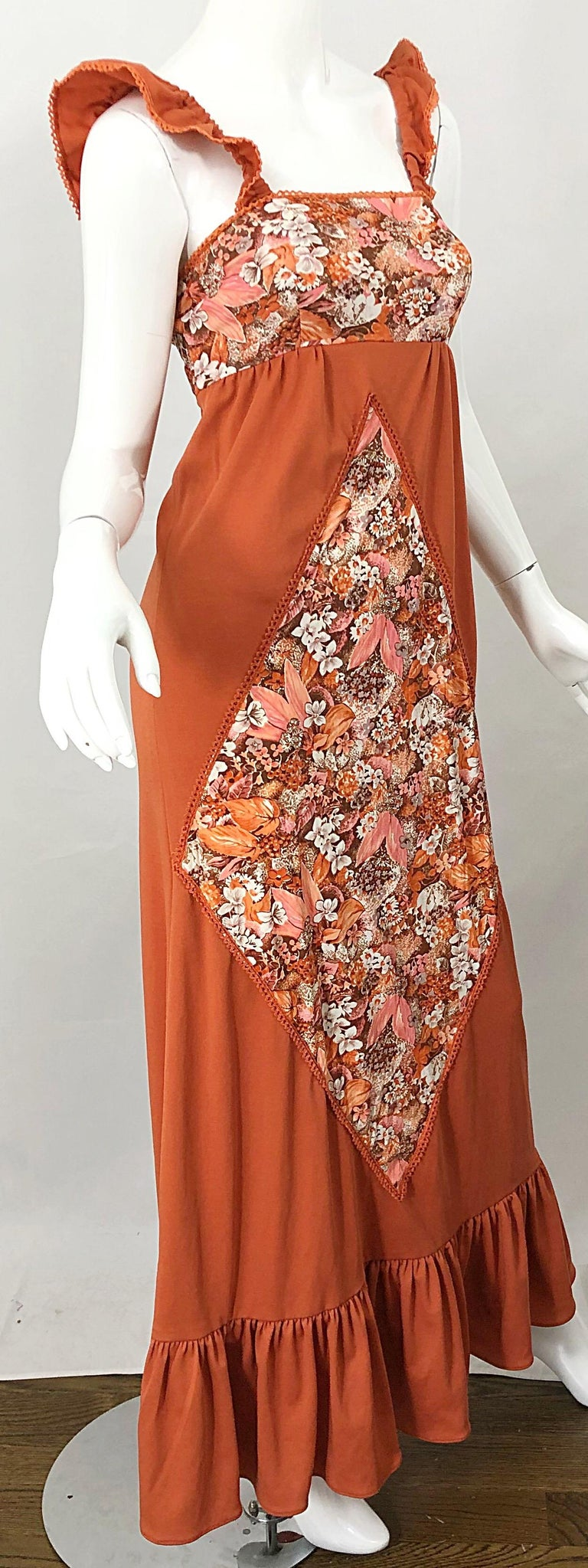 1970s Burnt Orange Patchwork Flowers Boho Vintage 70s Jersey Autumnal Maxi Dress For Sale 7