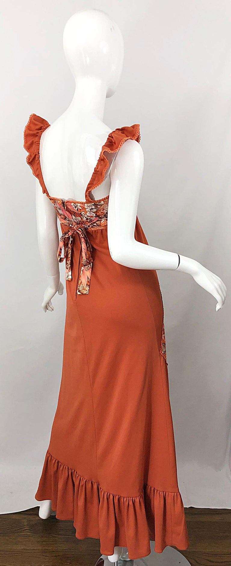 1970s Burnt Orange Patchwork Flowers Boho Vintage 70s Jersey Autumnal Maxi Dress For Sale 8