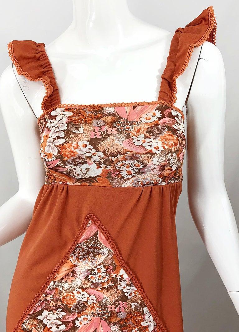 Women's 1970s Burnt Orange Patchwork Flowers Boho Vintage 70s Jersey Autumnal Maxi Dress For Sale
