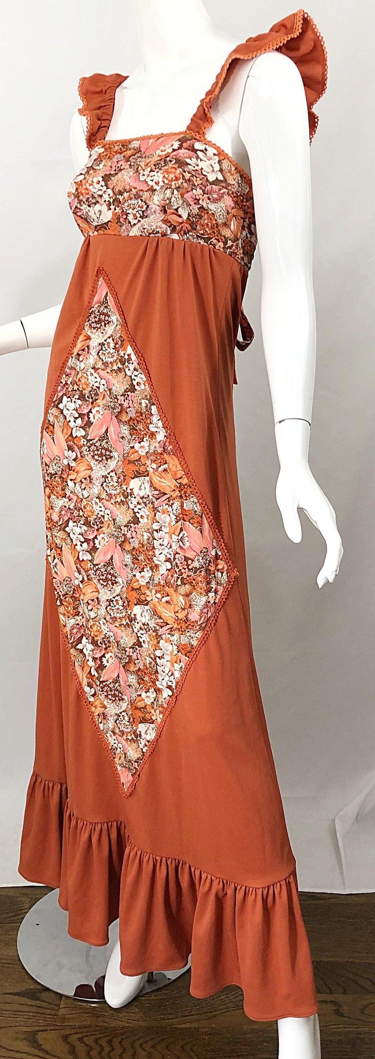 1970s Burnt Orange Patchwork Flowers Boho Vintage 70s Jersey Autumnal Maxi Dress For Sale 1