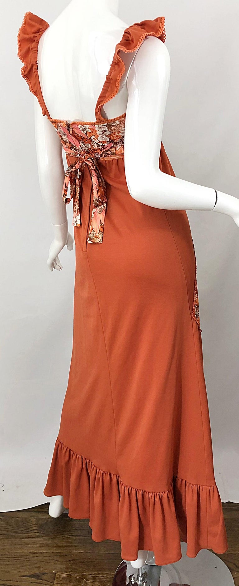 1970s Burnt Orange Patchwork Flowers Boho Vintage 70s Jersey Autumnal Maxi Dress For Sale 3