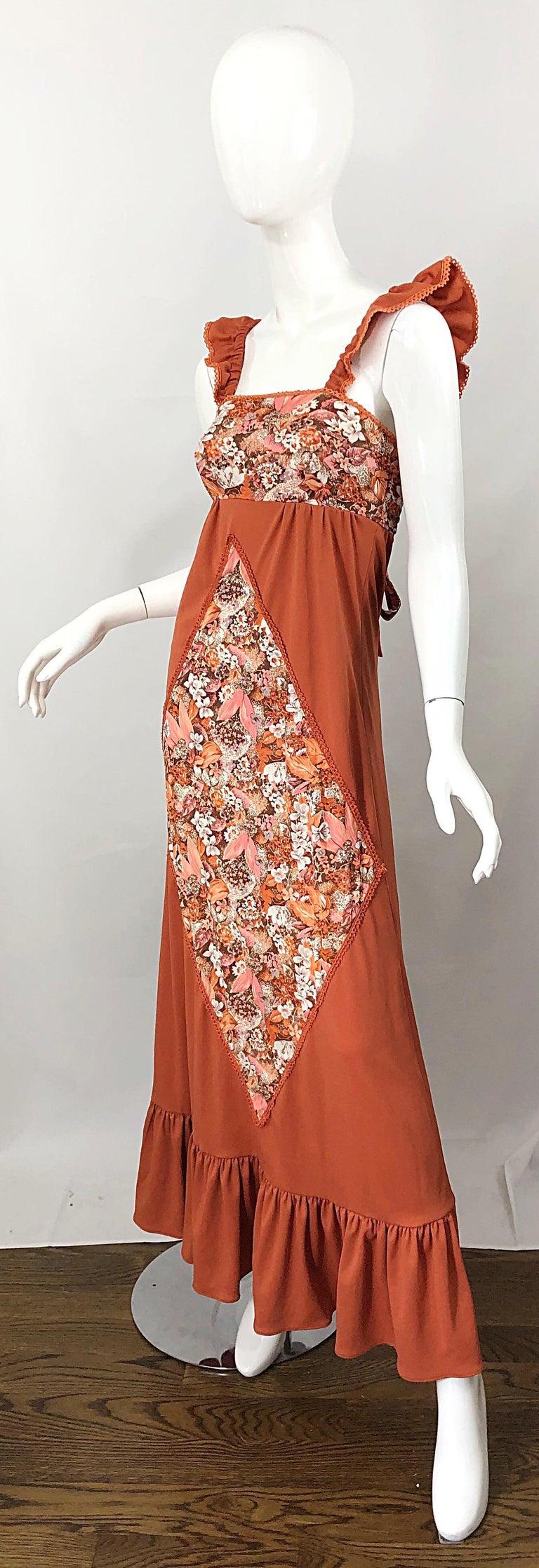 1970s Burnt Orange Patchwork Flowers Boho Vintage 70s Jersey Autumnal Maxi Dress For Sale 5