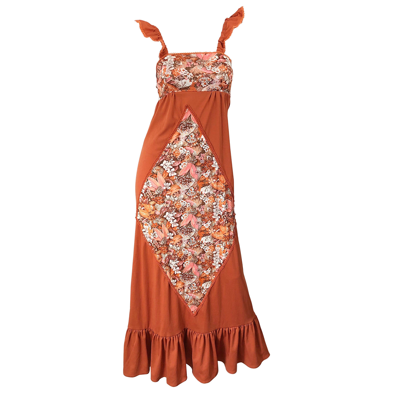 1970s Burnt Orange Patchwork Flowers Boho Vintage 70s Jersey Autumnal Maxi Dress