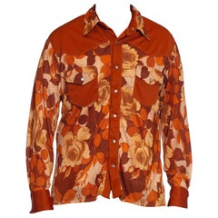 1970S Burnt Orange Poly/Viscose Jersey Mens Slinky Floral Western Shirt
