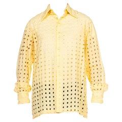 1970S Butter Yellow Cotton Geometric Cut Out Long Sleeve Men's Disco  Shirt