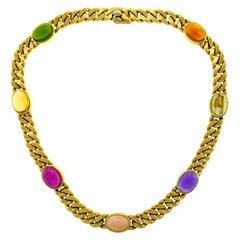 1970s Bvlgari Gemstones Yellow Gold Chain Necklace Bulgari