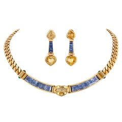 Bvlgari Yellow and Blue Sapphire Heart Necklace and Earrings Set