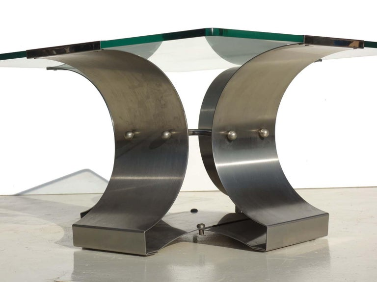 French 1970s by Francois Monnet Modernist Design Stainless Steel Coffee Table  For Sale