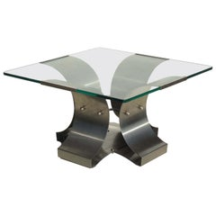 1970s by Francois Monnet Modernist Design Stainless Steel Coffee Table