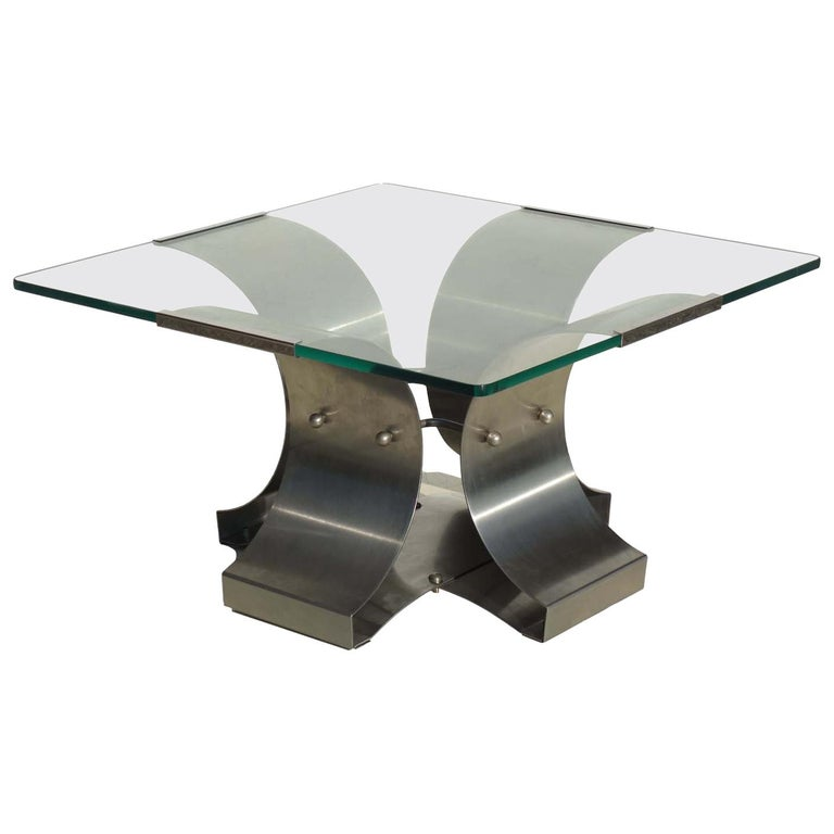 1970s by Francois Monnet Modernist Design Stainless Steel Coffee Table  For Sale