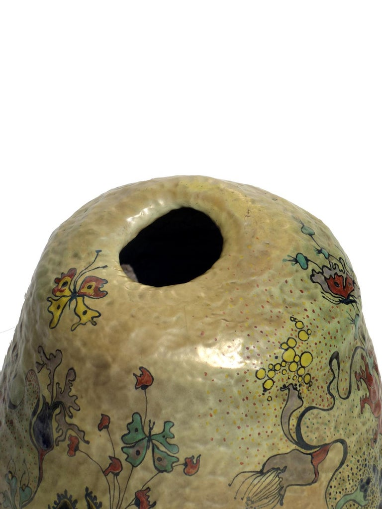 Mid-Century Modern 1970s by Giacomo Onestini Italian Pottery Big Sculpture Vase For Sale