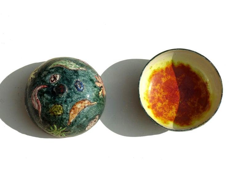 Late 20th Century 1970s by Tassinari Faenza Italian Pottery Ceramic Box For Sale