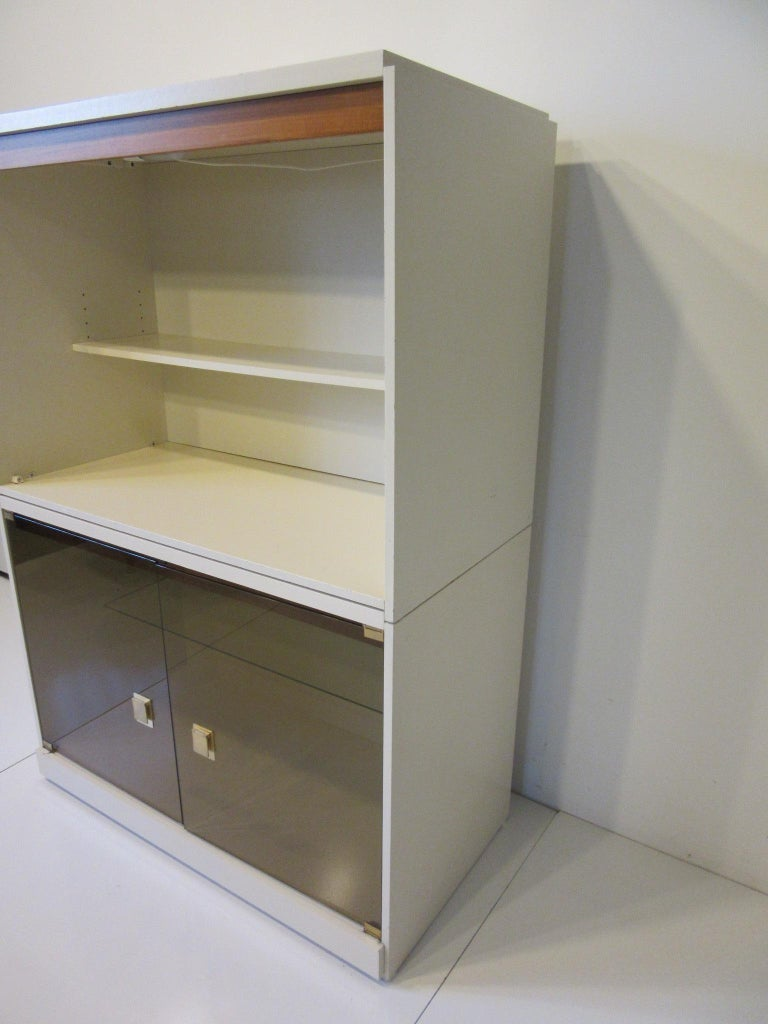 Mid-Century Modern 1970s Cabinet or Bookcase with Glass Doors For Sale