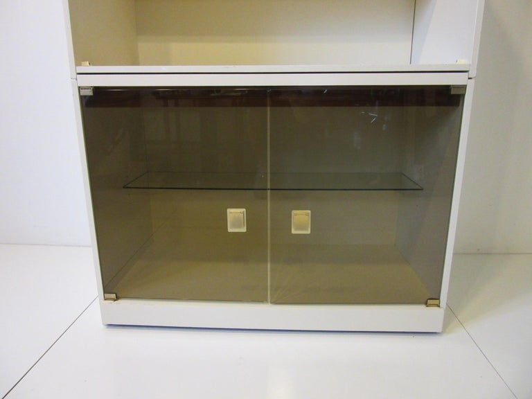 20th Century 1970s Cabinet or Bookcase with Glass Doors For Sale
