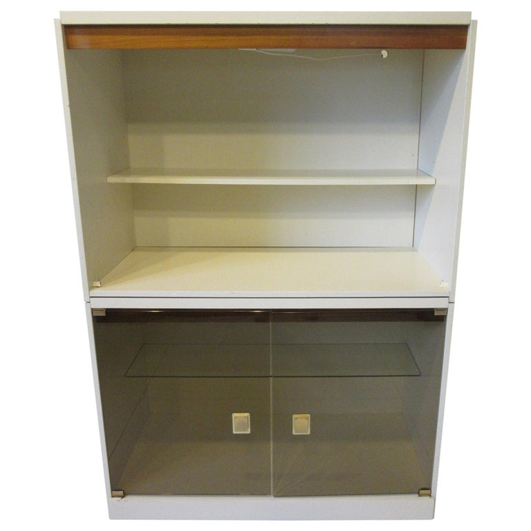 1970s Cabinet or Bookcase with Glass Doors For Sale
