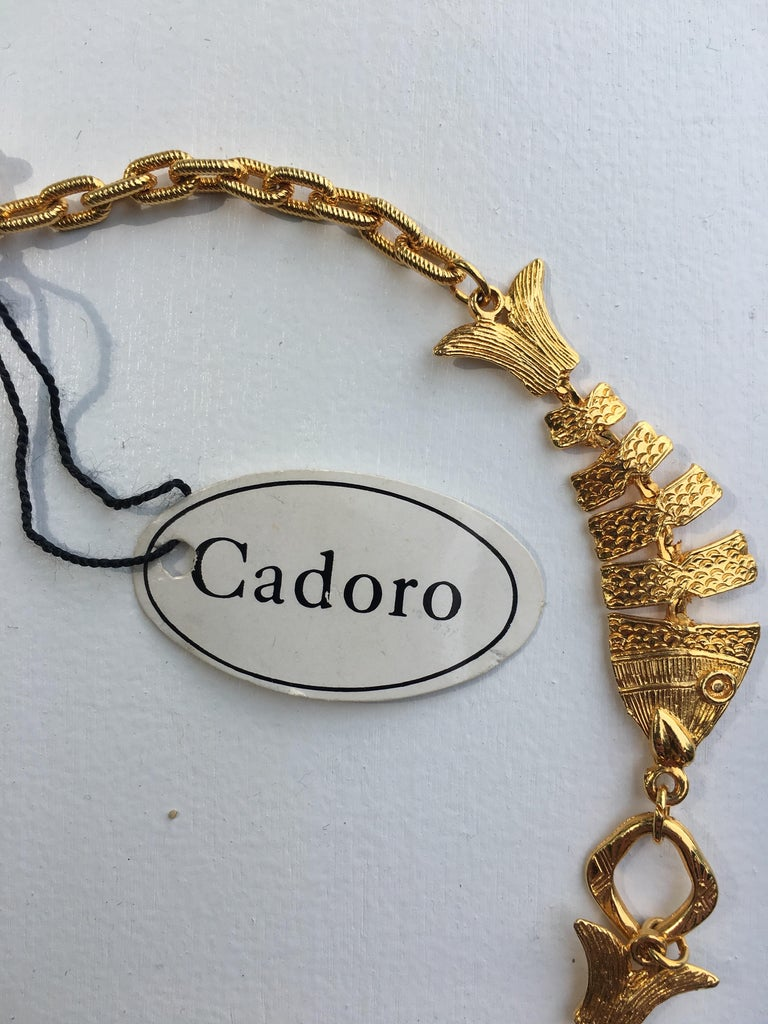 Women's or Men's 1970s Cadoro Goldtone Fish Necklace Original tags For Sale