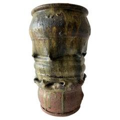 1970s California Studio Stoneware Pottery Large Scale Vase