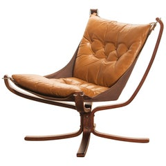 1970s, Camel Leather 'Falcon' Lounge or Easy Chair by Sigurd Ressell