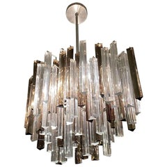 1970s Camer Glass Venini Midcentury Chandelier in Two-Tone Prisms