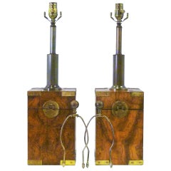1970s Campaign Style Burl Tea Box Table Lamps