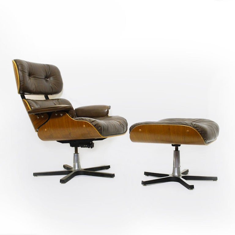 Mid-Century Modern 1970s Canadian Made Eames Style Lounge Chair and Ottoman, by Northfield For Sale