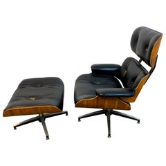 1970s Canadian Made Eames Style Lounge Chair and Ottoman, by Northfield