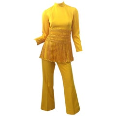 1970s Canary Yellow Fringe Vintage Knit Tunic Top + 70s Bell Bottom Flared Pants