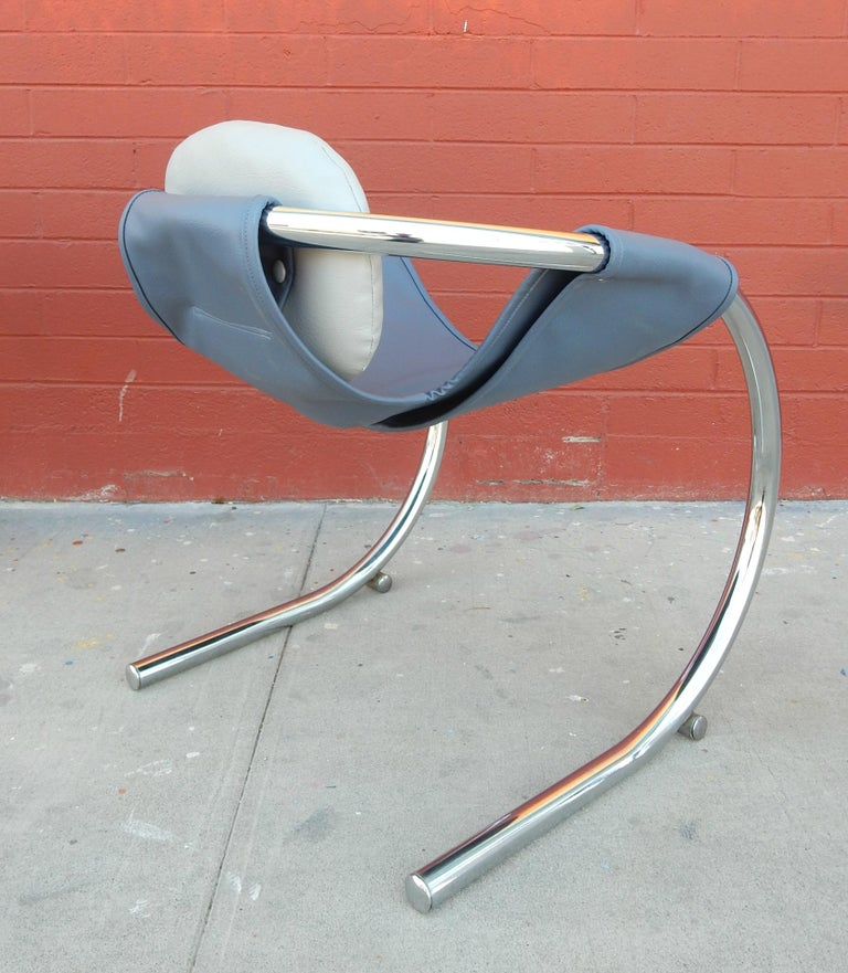 Mid-Century Modern 1970s Cantilever Chrome Lounge Chairs by Byron Botker for Landes of California For Sale