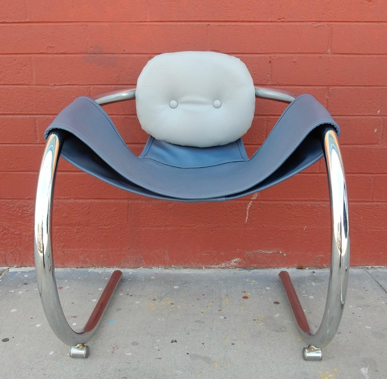 American 1970s Cantilever Chrome Lounge Chairs by Byron Botker for Landes of California For Sale