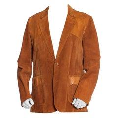 1970S Caramel Brown Suede Western Styled Men's Leather Blazer With Snakeskin Det