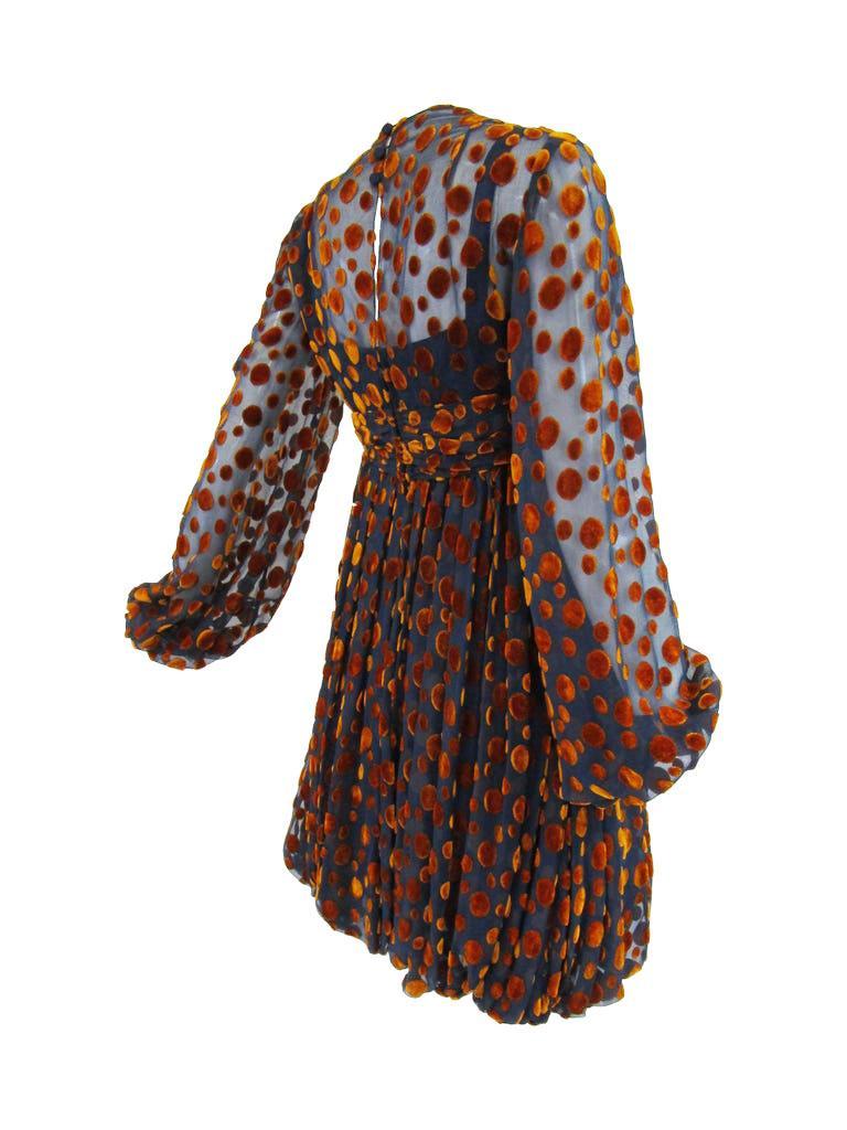 Women's 1970s Cardinali Multi-Colored Burnout Velvet Polka Dot Romper  For Sale