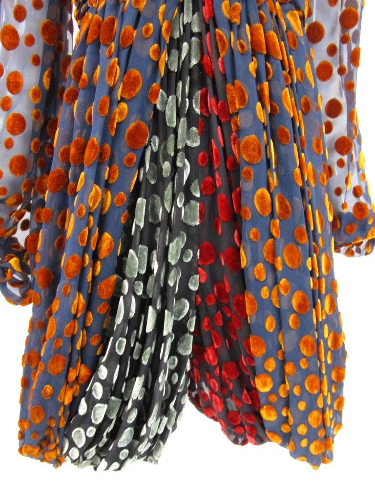1970s Cardinali Multi-Colored Burnout Velvet Polka Dot Romper  For Sale 2