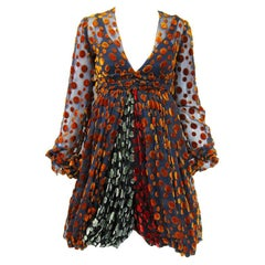 1970s Cardinali Multi-Colored Burnout Velvet Polka Dot Romper