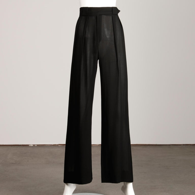 1970s Cardinali Vintage Sheer Black Silk Palazzo Pants In Excellent Condition For Sale In Sparks, NV