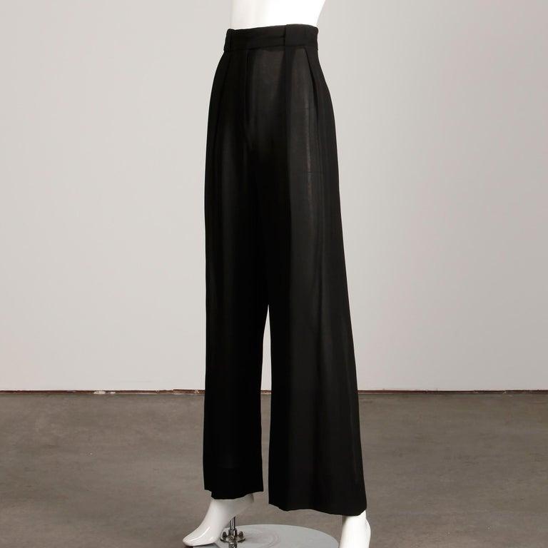 Women's 1970s Cardinali Vintage Sheer Black Silk Palazzo Pants For Sale