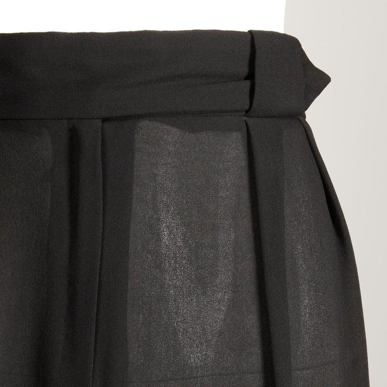 1970s Cardinali Vintage Sheer Black Silk Palazzo Pants For Sale 2